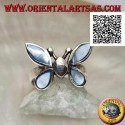 Silver ring in the shape of a butterfly with blue mother-of-pearl wings