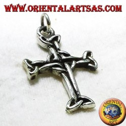 Celtic cross pendant with silver triskell