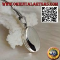 Flat oval smooth silver photo frame pendant (22 * 16)