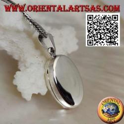 Ciondolo portafoto in argento liscio ovale piatto (22*16)