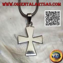 Ciondolo in argento croce patente o croce dei templari liscia allungata