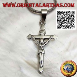 Silver pendant representing the crucifixion of Jesus Christ on a smooth cross