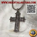 Silver Latin cross pendant with S-shaped spirals in bas-relief and ball ends