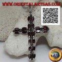 Silver Christian cross pendant with two rows of shuttle garnets and marcasite between them