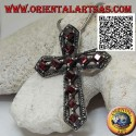 Silver pendant Christian cross with natural rhomboid garnets set and frame with maracssites