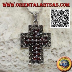 Silver Christian cross pendant with wide arms with two rows of natural round garnets surrounded by marcasite