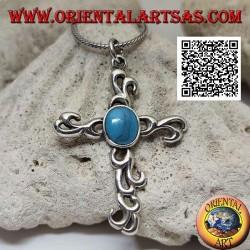 Colgante de plata de cruz latina estilo tribal con turquesa ovalada central