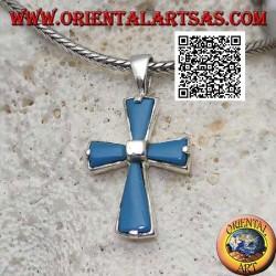 Pendentif croix en argent avec bras turquoise et carré central en argent