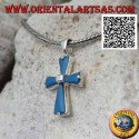 Silver cross pendant with turquoise arms and central square in silver