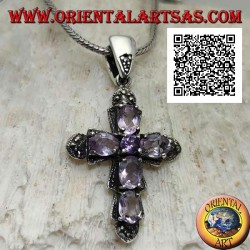 Silver pendant in the shape of a cross with 5 oval and 1 central amethyst and marcasite around