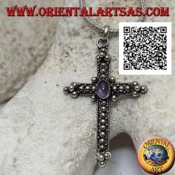 Серебряный кулон в виде православного креста с аметистом овальной формы в центре и украшением шарами.