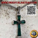 Silver cross pendant with green agate arms and silver with central marcasite