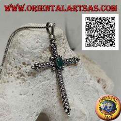 Ciondolo in argento, croce ortodossa con agata verde ovale centrale e decorazione a palline