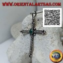 Silver pendant, orthodox cross with central oval green agate and ball decoration