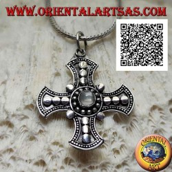 Silver pendant, Canterbury cross with central round moonstone and disk decoration
