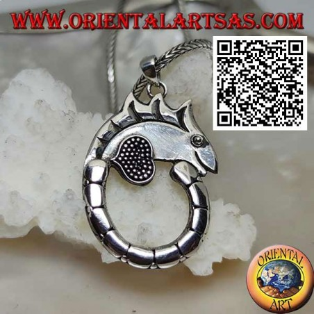 Silver pendant in the shape of a chameleon with a long circle tail
