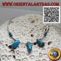 925 ‰ silver choker necklace, strung silver tubes and fragments of ancient Tibetan turquoise