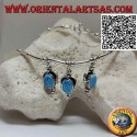 Necklace in 925 ‰ silver with choker, tubes and balls strung with 3 oval turquoise pendants