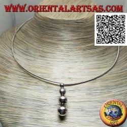 Collana in argento 925 ‰ rigida a girocollo con 4 sfere crescenti pendenti