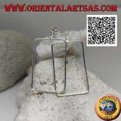 Серебряные серьги-лепестки с кулоном из проволоки прямоугольной формы с закругленными углами