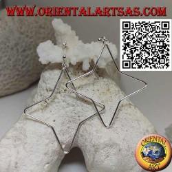 Orecchini in argento da lobo con filo a stella a 4 punte pendente