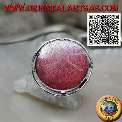 Silver ring with round red madrepora (coral) in the adjustable openwork disc (freesize)