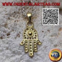 Ciondolo in argento mano di Fatima con decorazione a pallini traforati placcata in oro