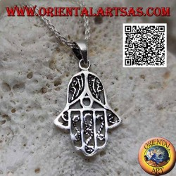 Hand of Fatima silver pendant with thin perforated internal decorations