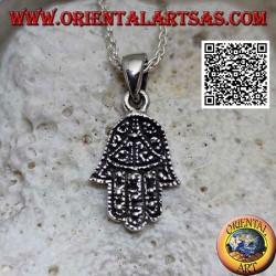 Silver pendant hand of Fatima Hamsa with bas-relief decoration
