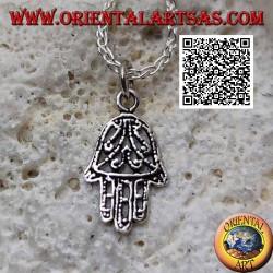 Pendentif Main de Fatima en argent à décor floral symétrique perforé
