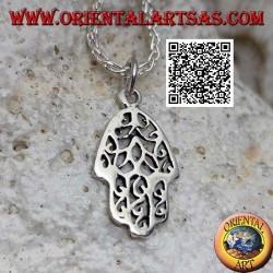 Hand of Fatima silver pendant smooth with openwork decoration