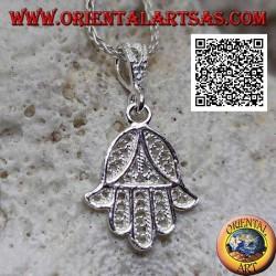 Silberanhänger Hand von Fatima klein mit orientalischer Dekoration durchbohrt (nicht oxidiert)