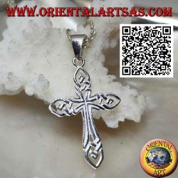 Silver pendant interwoven perforated cross