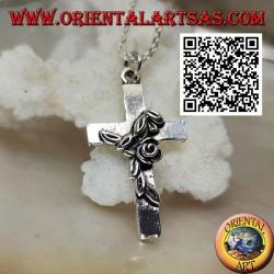 Ciondolo in argento croce latina cristiana con rosa attorcigliata