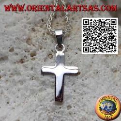 فضية مسطحة وسلسة قلادة الصليب اللاتينية المسيحية(16*11)