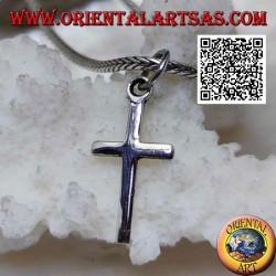 Ciondolo in argento croce latina cristiana piatta, liscia e sottile (18*10)