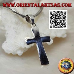 Silver flat and smooth Christian Latin cross pendant, bevelled at the edges (24 * 15)