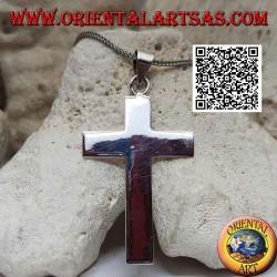 قلادة فضية مسطحة وناعمة على شكل صليب لاتيني مسيحي كبير (50 * 33)