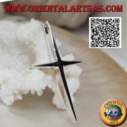Silber glatter, dicker lateinischer Kreuzanhänger mit spitzen Enden