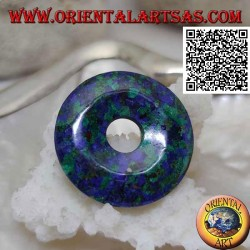Peruvian azurite pendant, in the shape of a 28 mm donut. with drawstring