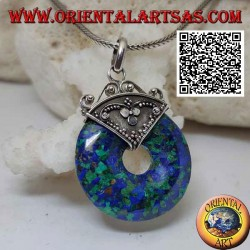 Peruvian azurite pendant, in the shape of a 28 mm donut. with hook decorated in silver