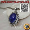 Silver pendant with natural oval cabochon lapis lazuli with double contour of striped balls