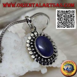 Silver pendant with natural oval lapis lazuli surrounded by balls and discs (b)