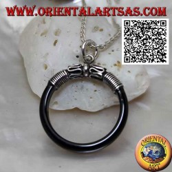 Onyx ring pendant threaded into a silver hook with serpentine decoration
