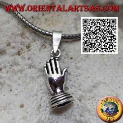 Ciondolo in argento mani palmo contro palmo (simbolo di preghiera e unione)