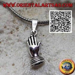 Silver pendant hands palm to palm (symbol of prayer and union)