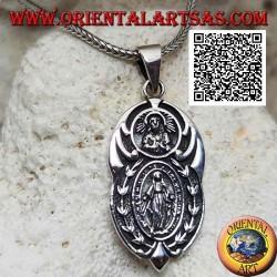 """Ciondolo in argento medaglia ovale """"apparizione della Madonna"""" sotto il """"Cristo con corona radiata del Sol Invictus"""""""