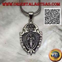 """Ciondolo in argento medaglia scudo """"apparizione della Madonna"""" sotto il """"Cristo con corona radiata del Sol Invictus"""""""
