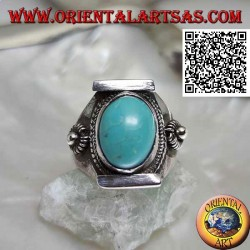 Silver ring with antique oval Tibetan turquoise in Nepalese setting with ball and discs on the sides