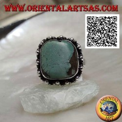 Silver ring with antique Tibetan turquoise square beveled surrounded by balls